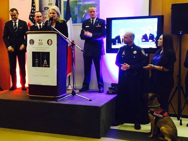 From Left to Right: French Ambassador Gerard Araud, French Police and Homeland Security Attaché Pierre-Eduardo Colliex, K9s4COPs Founder Kristi Schiller, US Airmen Spencer Stone, Harris County Sheriff's Deputy Ted Dahlin, and K9s4COPs Ambassadors Madison Sperry and K9 Quelle