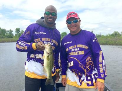 Minnesota Vikings Adrian Peterson and Lake Fork Guide Jason Hoffman